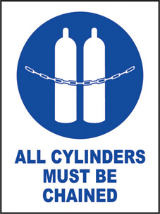 SAFETY SIGN (SAV) | All Cylinders Must Be Chained