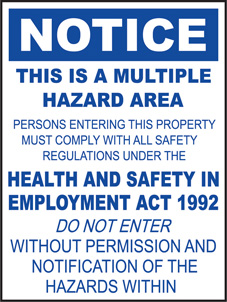 SAFETY SIGN (PVC) | Notice - This Is A Multiple Hazard Area