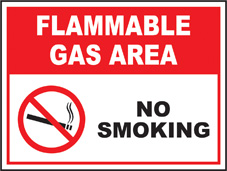 SAFETY SIGN (SAV) | Prohibition - Flammable Gas Area No Smoking